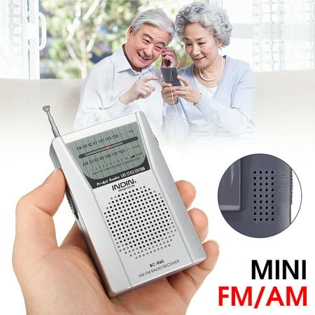 INDIN Mini Portable Pocket Stereo AM/FM Telescopic Antenna Radio World Receiver Speaker Music Player World Frequency Built in Speaker Earphones Jack On Clearance