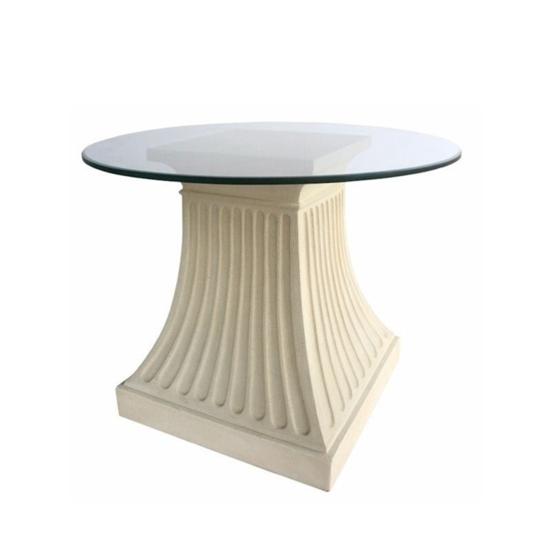 Anderson Teak Fluted Pedestal Dining Table in Natural Beige by Anderson Teak