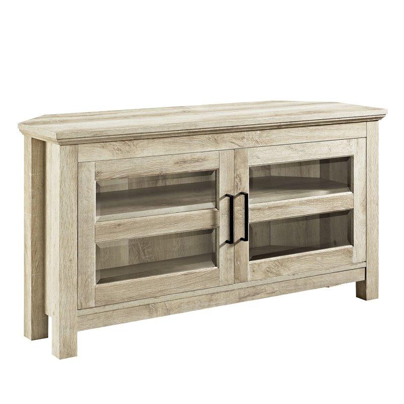 """Pemberly Row 44"""" Corner Wood TV Console in White Oak"""