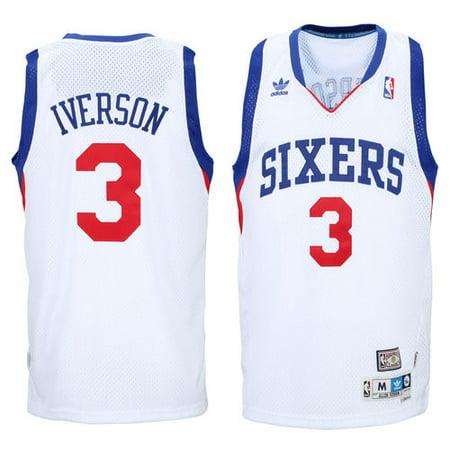 huge selection of 46777 98d07 Men's adidas Allen Iverson White Philadelphia 76ers Hardwood ...