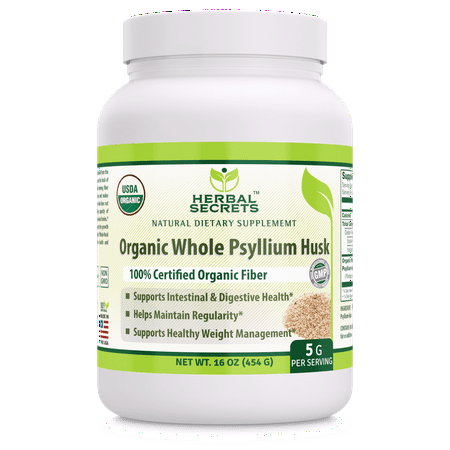 Herbal Secrets USDA Certified Organic Psyllium Husk 16 Oz