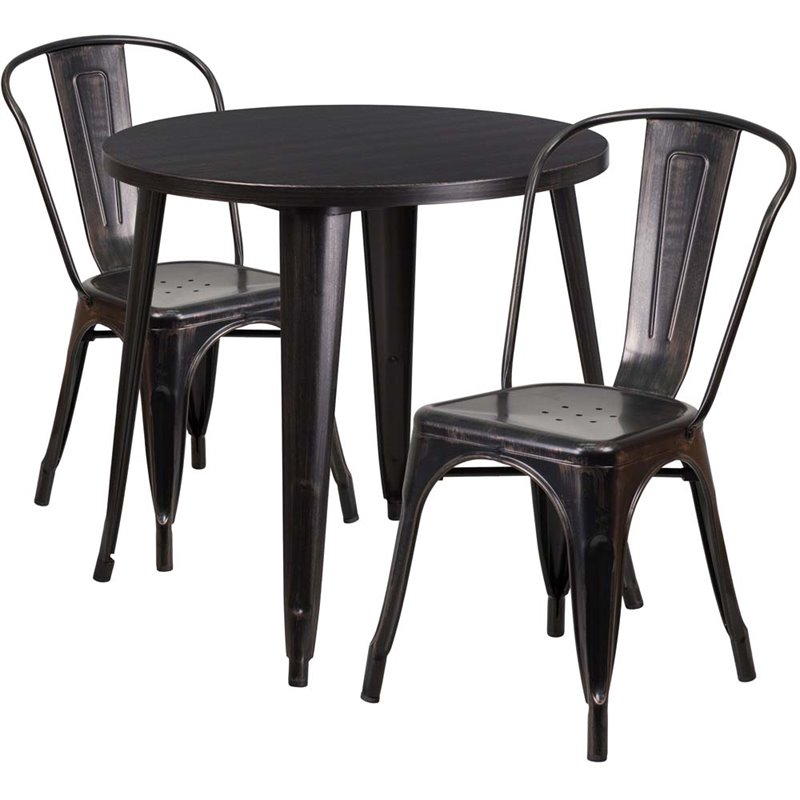 "Bowery Hill 3 Piece 30"" Round Metal Patio Dining Set in Black Gold"