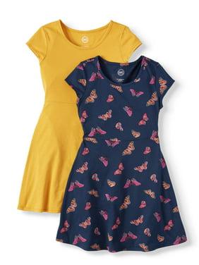 Wonder Nation Short Sleeve Dress, Back to School 2-Pack (Little Girls, Big Girls, Big Girls Plus)