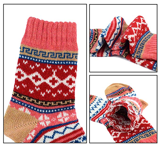 Girls Warm Thick socks Cotton Soft Red Stars Toddler Socks 5-Pairs