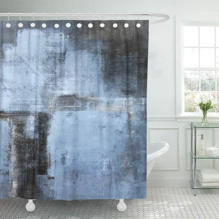 PKNMT White Acrylic Blue and Black Abstract Painting Contemporary Gallery Grey Interior Bathroom Shower Curtain 66x72 inch ()