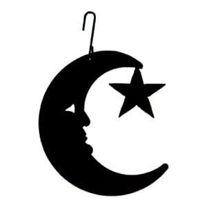 Village Wrought Iron HOS-2 Moon/Star - Decorative Hanging Silhouette
