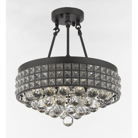 Semi Flush Mount French Empire Crystal Chandelier With 40MM Crystal Balls Crystal Iron Metal Shade
