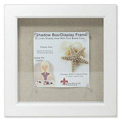 lawrence frames shadow box frame with linen inner display board, 8 by 8-inch, white