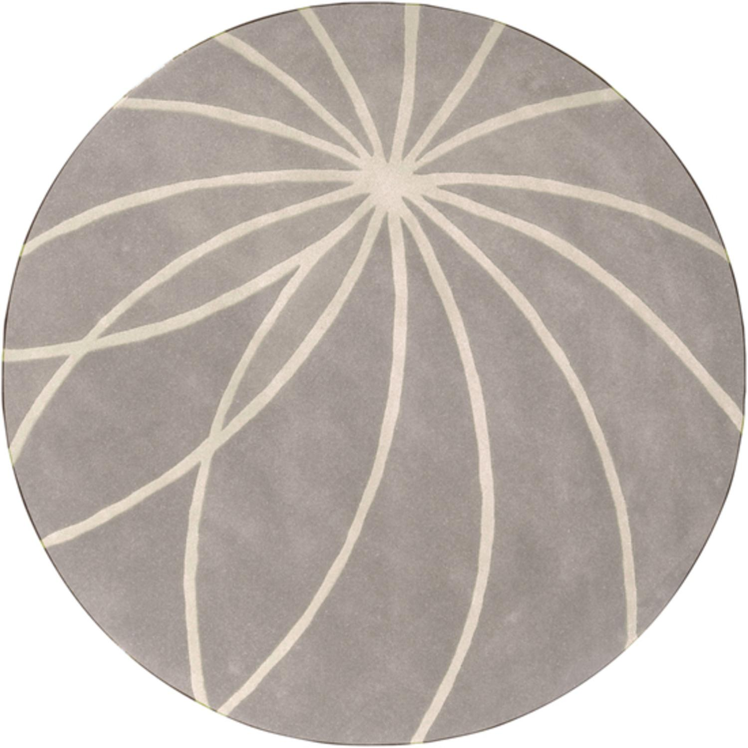 6' Plasma Elektra White and Gray Hand Tufted Wool Round Area Throw Rug