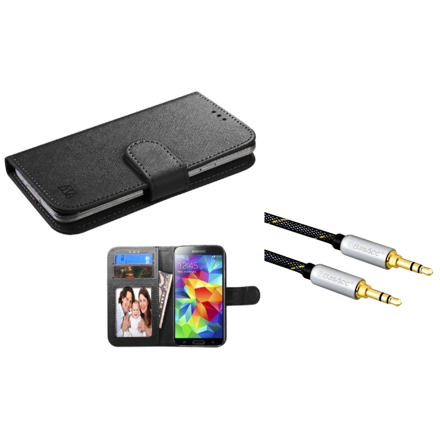 Insten Black Leather Wallet Case For iPhone SE 5 5C 5S Universal (+ 3.5mm Aux Auxiliary Audio Extension M/M Cable)