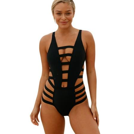 e4c9221d65769 BEEACHGIRL - Women's One Piece Swimsuits Cutout Monikini Sexy Bandage Criss  Cross Bathing Suits - Walmart.com