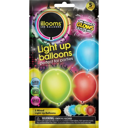 illooms Mixed Color Light Up Balloons, 5-Pack - Balloon With Name On It