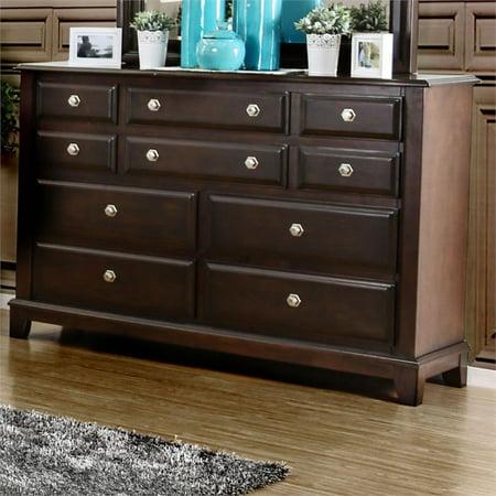 Furniture of America Glinda 10 Drawer Dresser in Brown Cherry American Drew Cherry Dresser