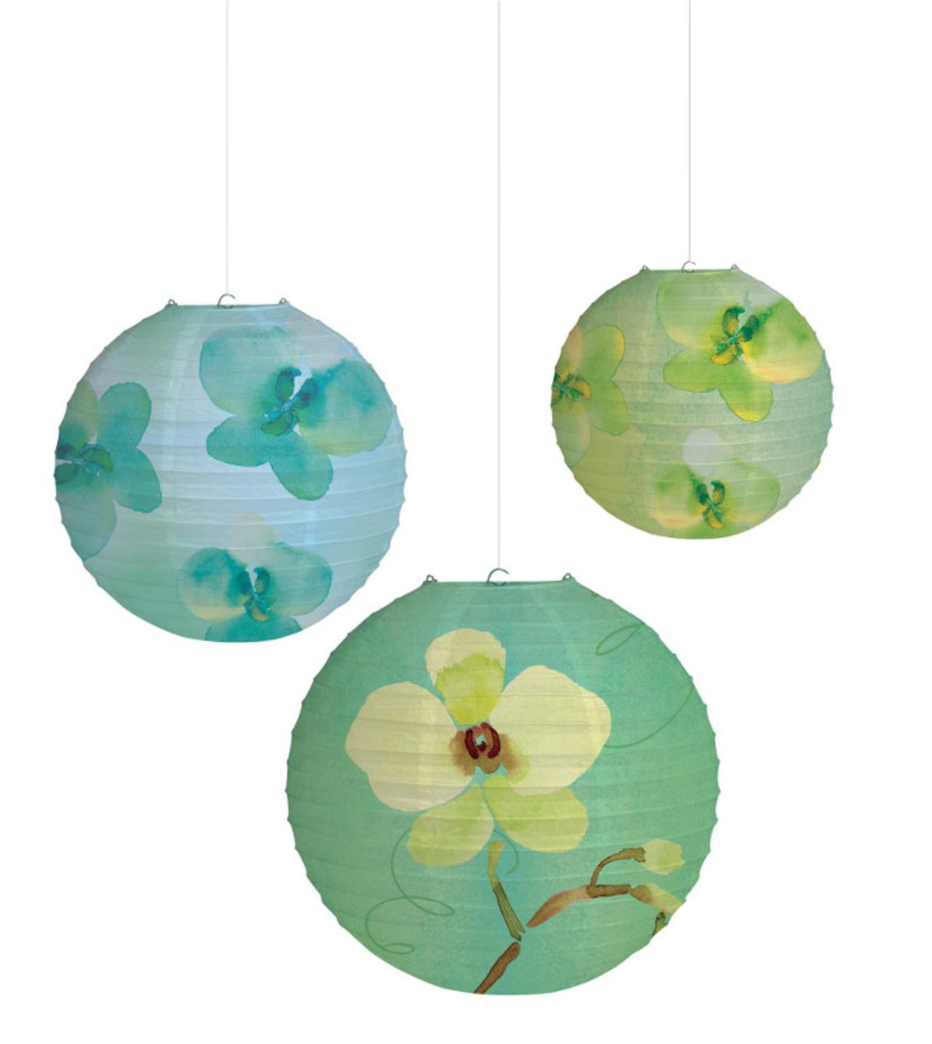 Club Pack of 18 Cool Flora Blue Hanging Paper Lanterns Party Decorations 10""