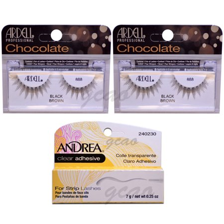 11dfdc421d8 (2 PACK) ARDELL Lashes Chocolate Black Brown 888 + Andrea Glue Clear 3.5 g  - Walmart.com