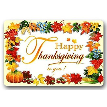 WinHome Happy Thanksgiving Day Doormat Floor Mats Rugs Outdoors/Indoor Doormat Size 23.6x15.7 inches