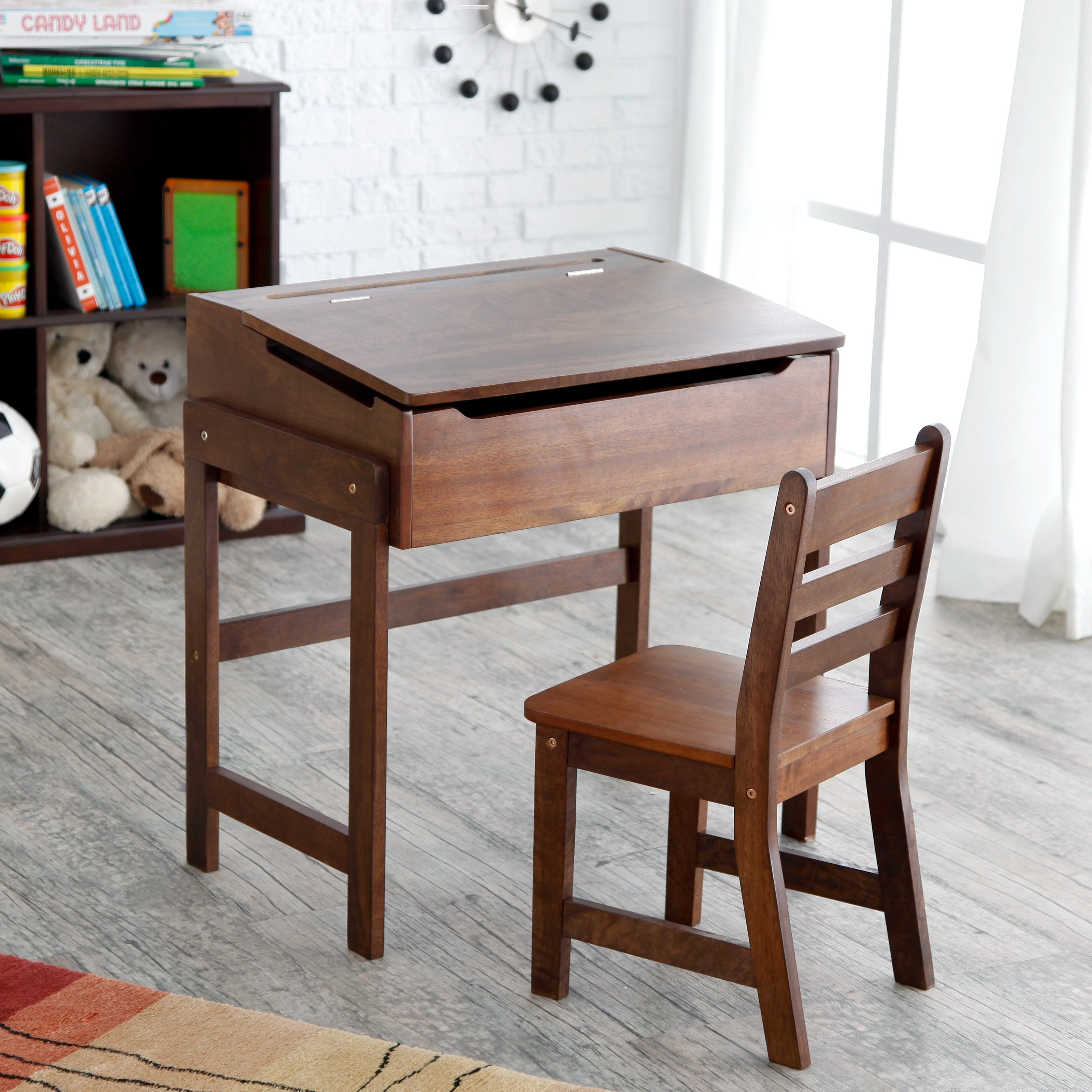 Child's Slanted Top Desk & Chair Walnut