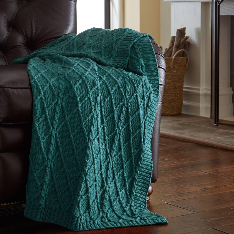 Image of Amrapur Oversized Cable Diamond Knit Throw Blanket