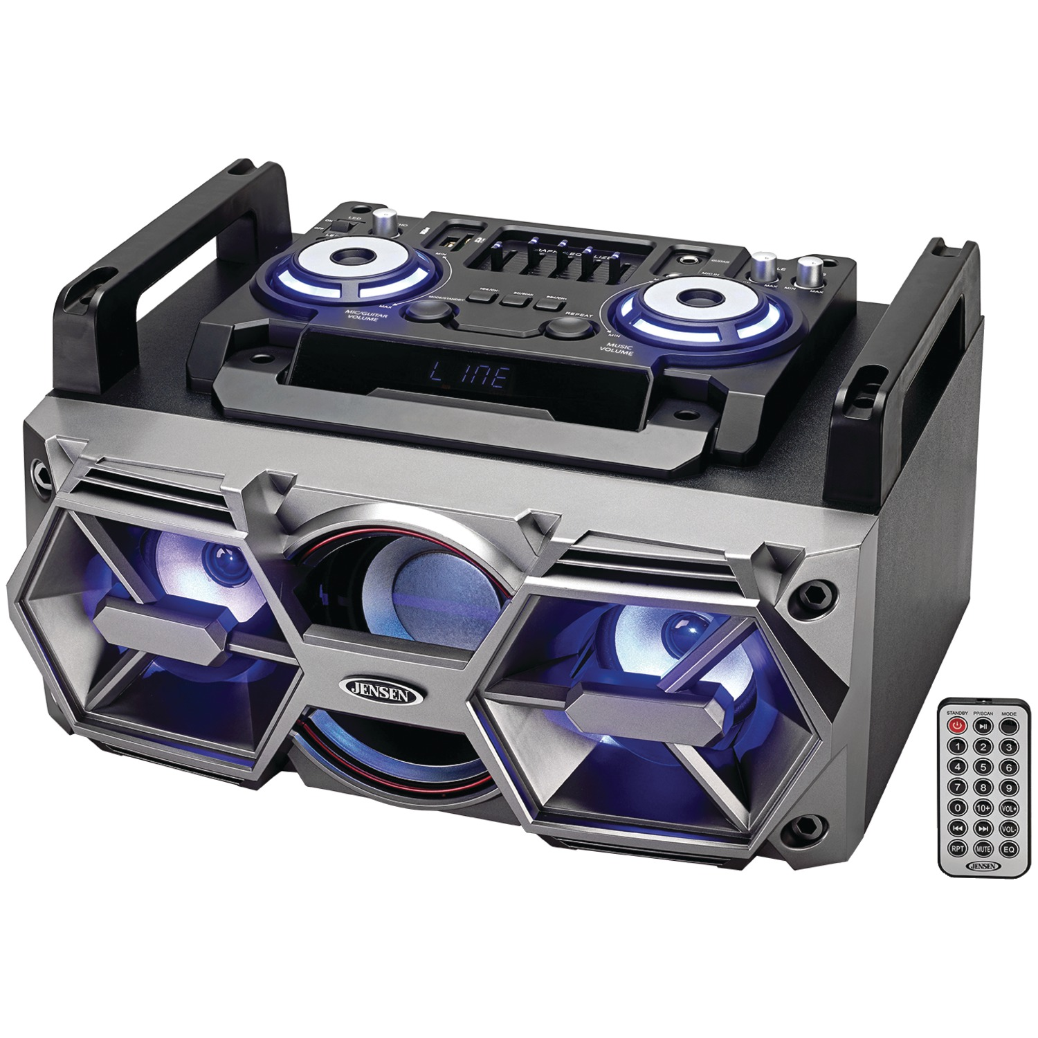 JENSEN SMPS-750 Portable Bluetooth All-in-One Hi-Fi Music System with PA
