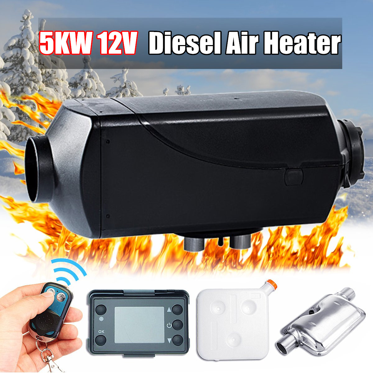 12V 5KW LCD Switch Car Air Diesel Parking Heater For Trucks Boats Motor-Home Bus