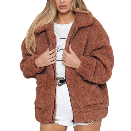 The North Face Fleece Parka - Fashion Women Warm Long Sleeve Faux Fur Lapel Thick Top Parka Casual Fleece Zipper Open Front Winter Cardigan Outwear Coat Jacket