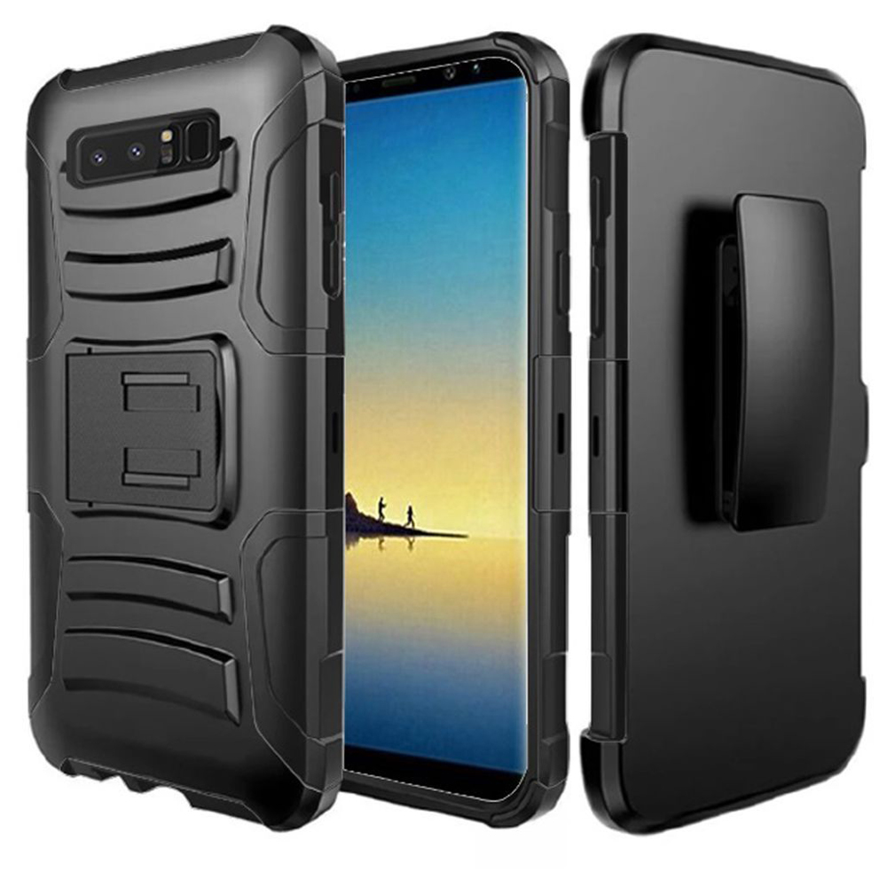 Samsung Galaxy Note 8 Case, Hybrid Rugged Heavy Duty Armor Defender Dual Layer Kickstand Belt Clip Holster Combo for Samsung Galaxy Note 8 - Black/ Black