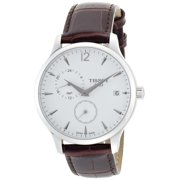 Tissot Men's 42mm Brown Calfskin Band Steel Case Quartz White Dial Analog Watch T0636391603700