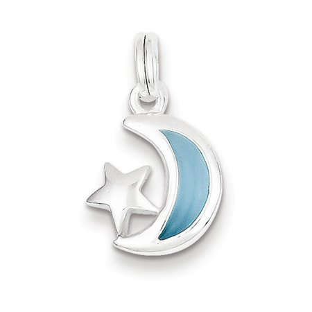 Sterling Silver Blue Enameled Moon & Star Charm
