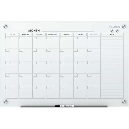 Line Dry Erase Board (Quartet, QRTGC4836F, Infinity™ Glass Magnetic Calendar Board, 1 Each, White )