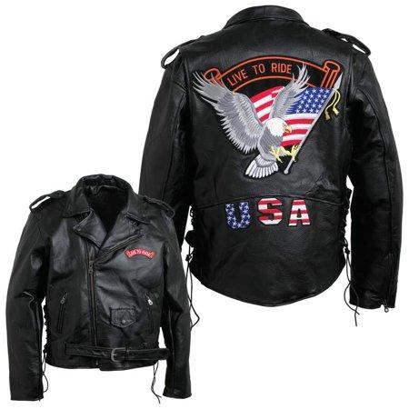 Diamond Plate™ Men's Hand-sewn Pebble Grain Genuine Buffalo Leather Jacket - Extra Large - GFMOTLTRXL