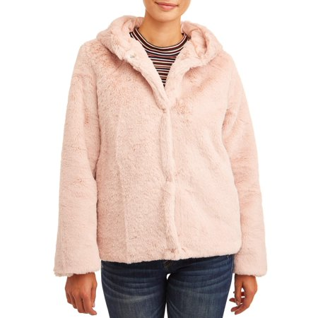 Junior City Jacket (Pink Platinum Juniors' Faux Rabbit Fur Jacket)