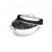 "Click here to buy Cuisine Select Top Roast 16"" Oval Roaster with Lid & Roasting Rack by CUISINE SELECT."