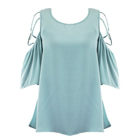 Seafoam Green Cage Cold Shoulder Womens Top