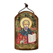 G Debrekht Inspirational Icon Saint Nicholas Wooden Ornament