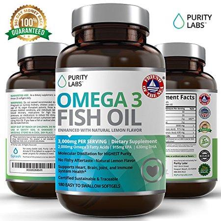 Omega 3 3000mg Fish Oil Pills 180 Softgels by Abundant Health - QUALITY TESTED