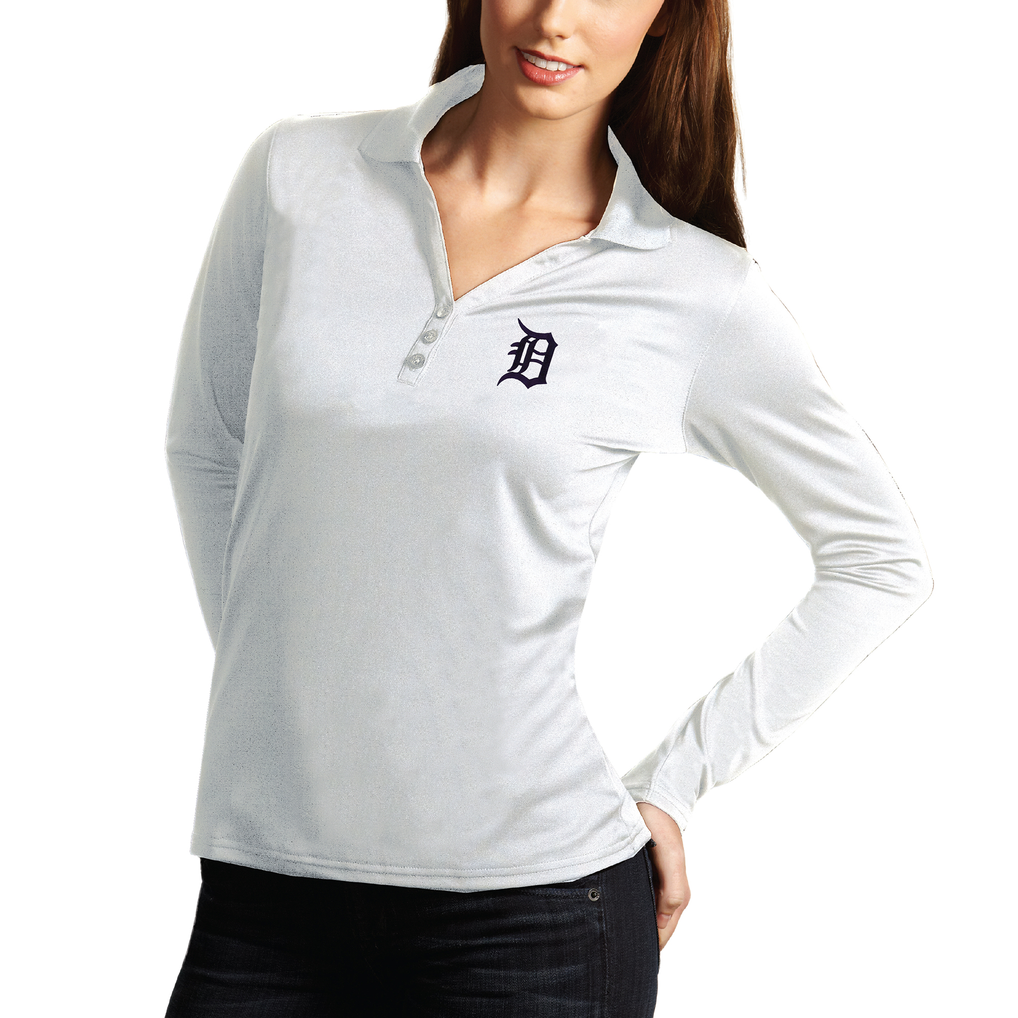 Detroit Tigers Antigua Women's Desert Dry Xtra Lite Exceed Long Sleeve Polo - White