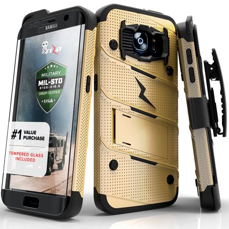 new product 35da9 d447d Zizo BOLT Series compatible with Samsung Galaxy S7 Edge Case Military Grade  Drop Tested with Tempered Glass Screen Protector Holster