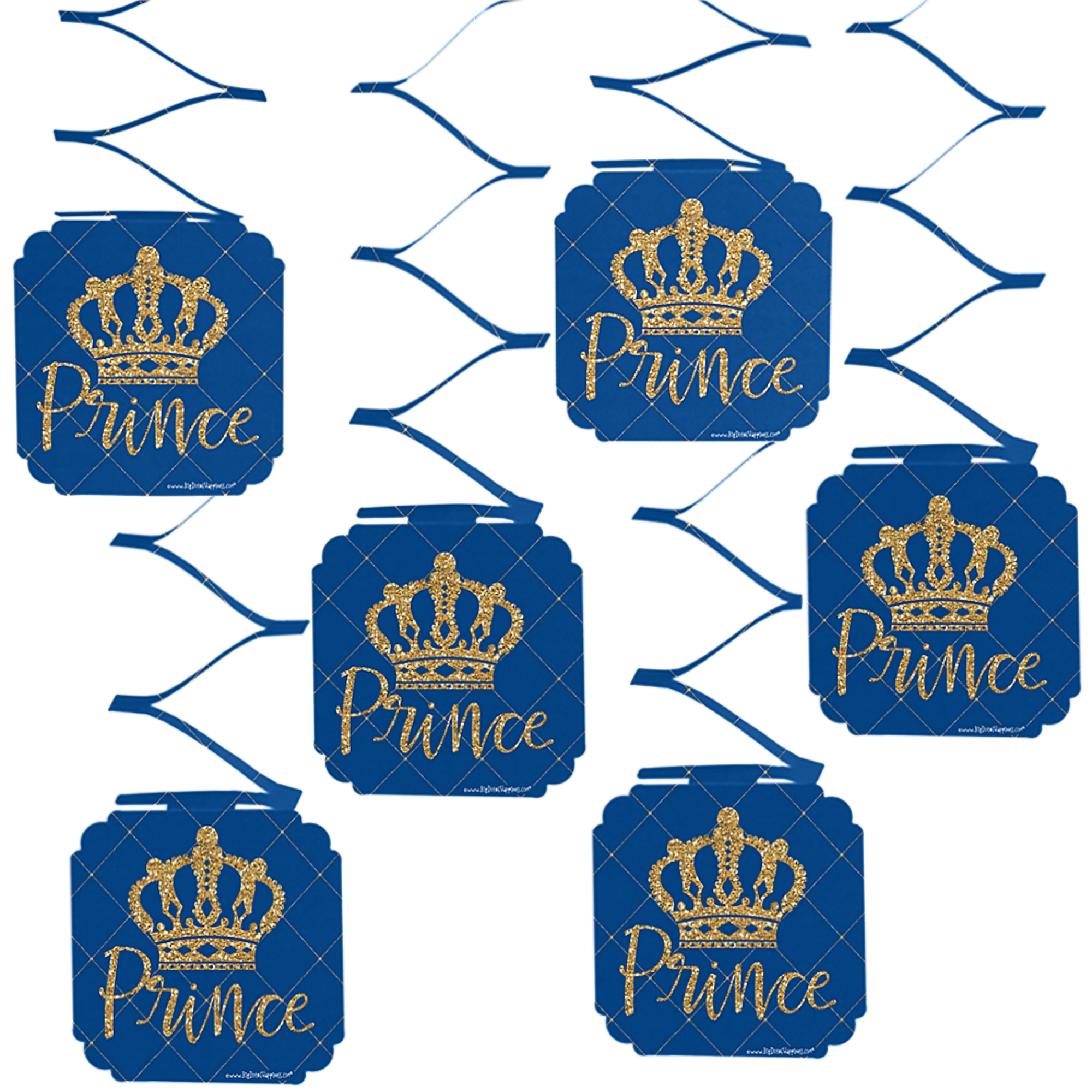 Royal Prince Charming - Baby Shower or Birthday Party Hanging Decorations - 6 Count