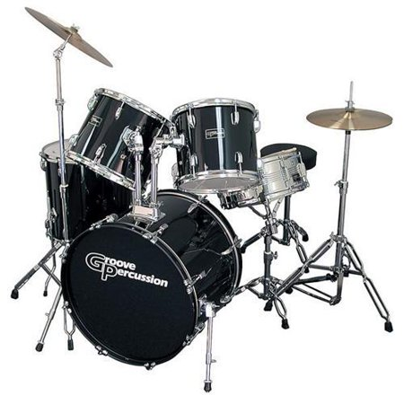 groove percussion 5 piece drum set with hardware and cymbals. Black Bedroom Furniture Sets. Home Design Ideas