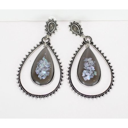 LF7 Womens Double Tear Drop Fashion Aztec Tribal Boho Indian Vintage Design Dangle Earrings