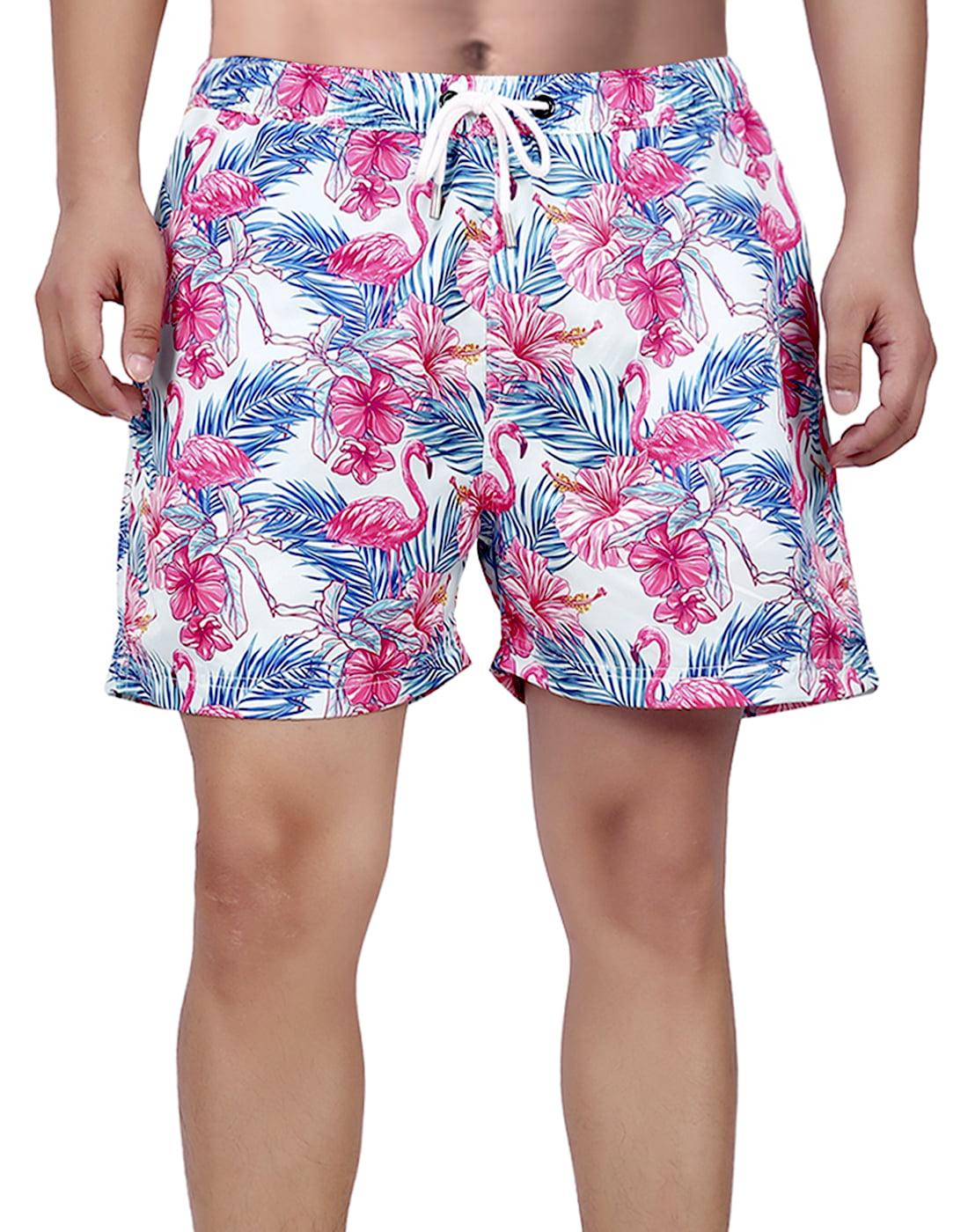 Beautiful Flamingo Mens Board Shorts Swim Mesh Lining and Side Pocket