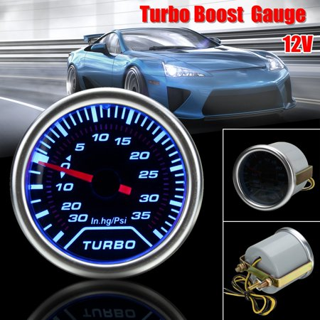 - 1 X Universal 2 Inch 52mm Blue LED Pointer Turbo Boost Gauge Meter PSI Smoke Tint Len