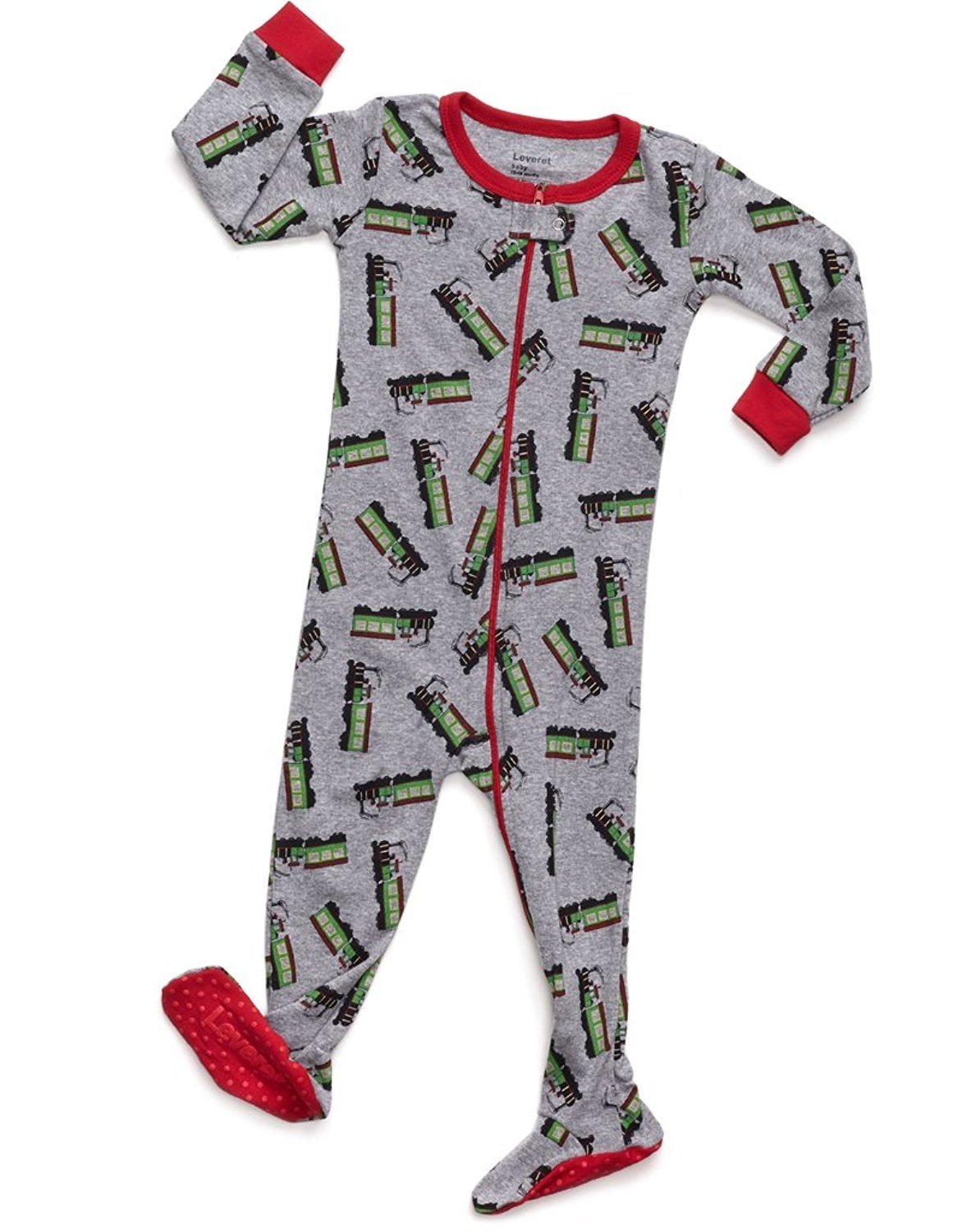 Leveret Train Footed Pajama Sleeper 100% Cotton 12-18 Months