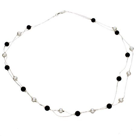 Multi-strand Black Onyx Freshwater Cultured Pearl Sterling Silver Chain Necklace 20 Inch Pearl Black Onyx