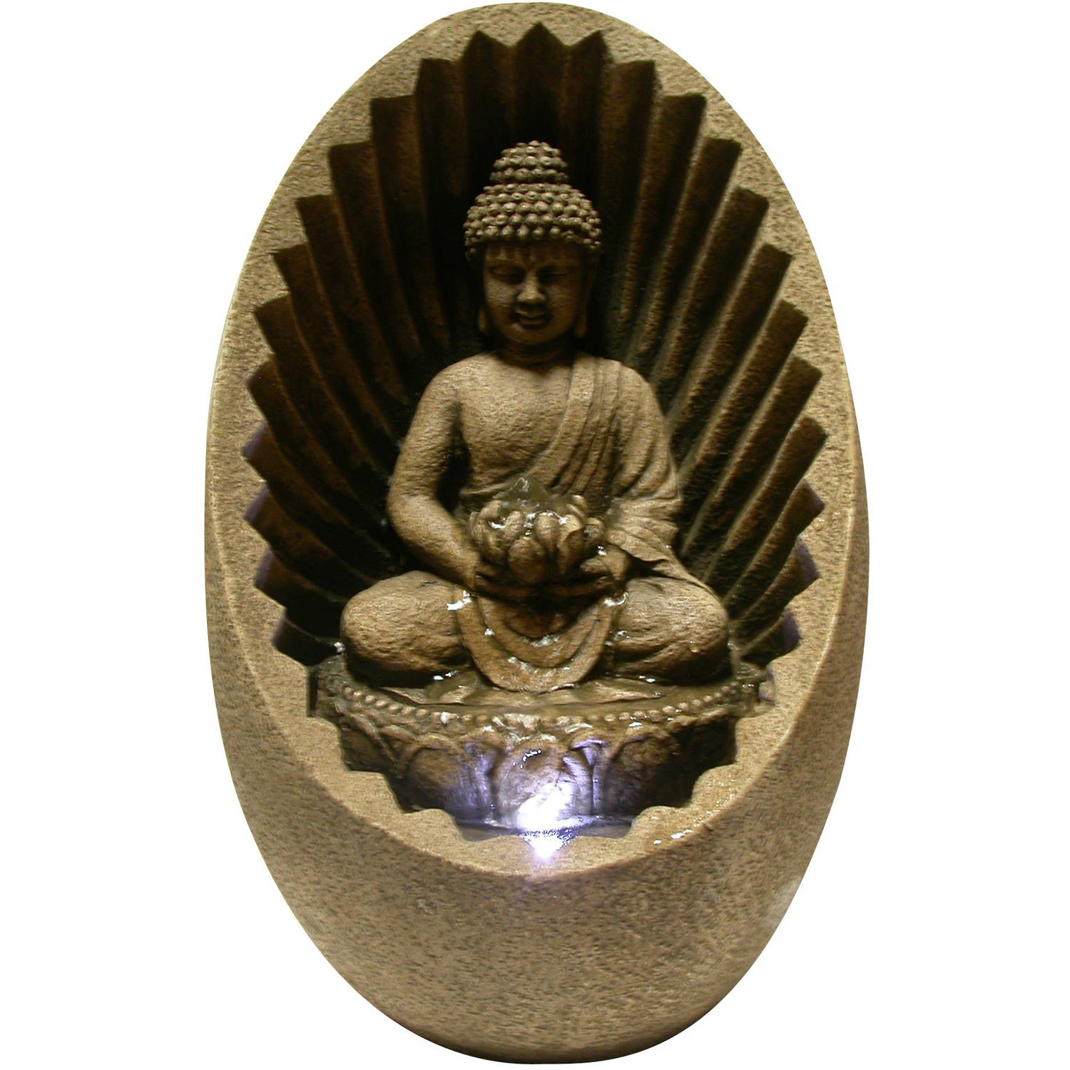 Buddha Tabletop Fountain with LED light by Alpine Corporation