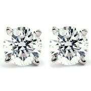 Pompeii3 1/4 Carat Genuine Diamond Stud Earrings in 14k White Gold (I2-I3 Clarity, IJ Color)