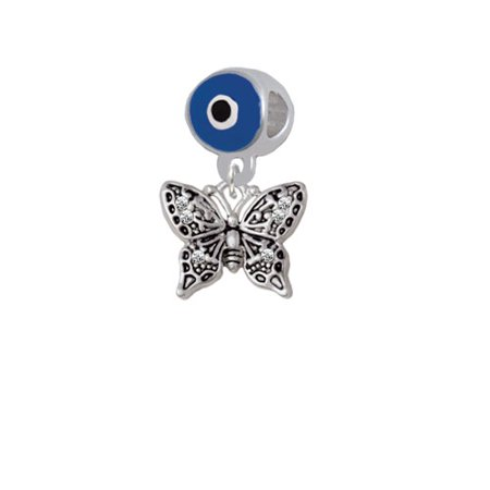 Small Antiqued Crystal Butterfly - Blue Evil Eye Charm Bead