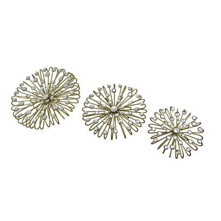 Set Of 3 Jeweled Gold Finish Metal Star Burst Wall