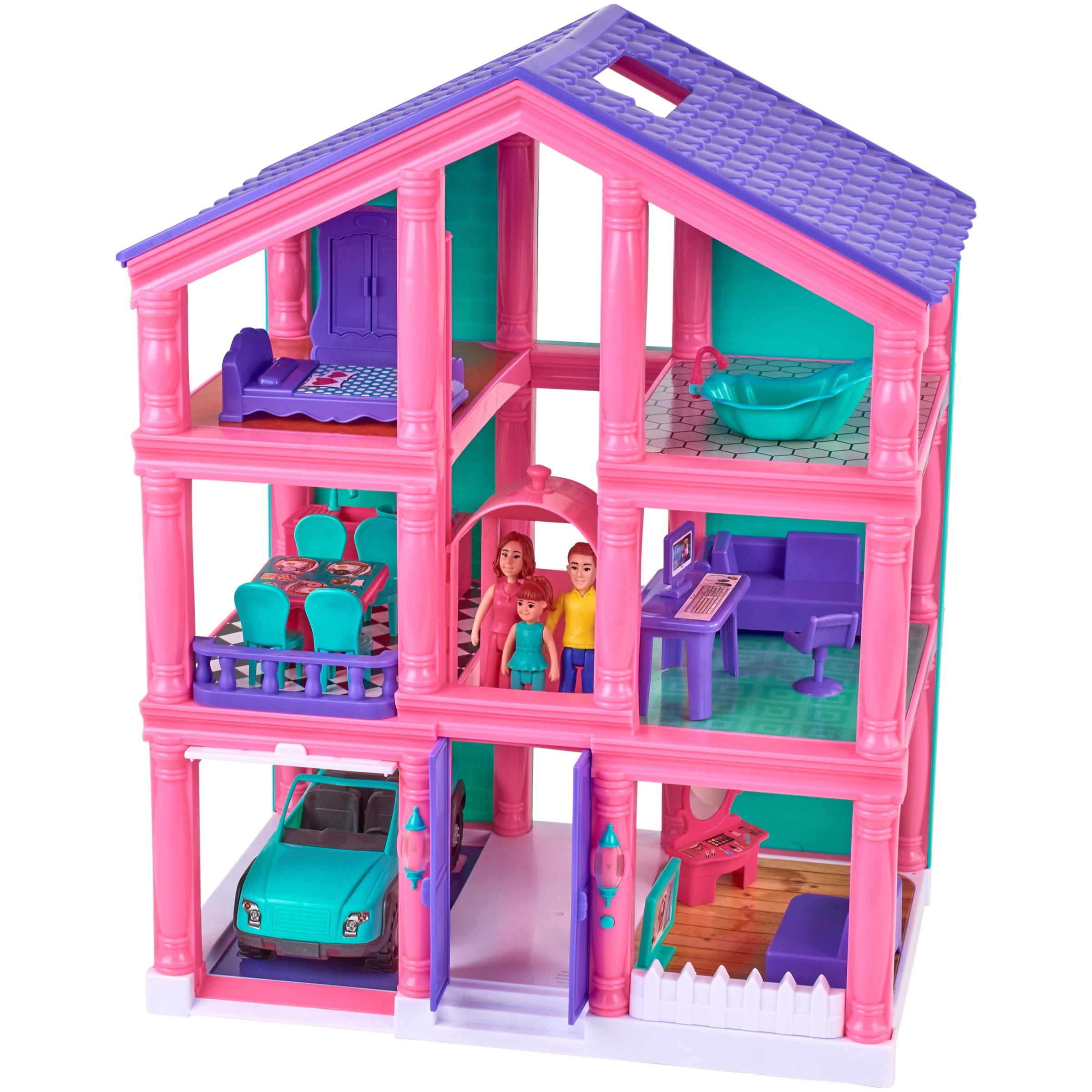 Kid Connection 3 Story Dollhouse Play Set With Working Garage And Elevator 24 Pieces Walmart Com Walmart Com