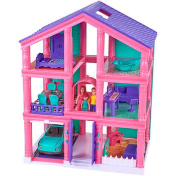 24-Pieces Kid Connection 3-Story Dollhouse Play Set